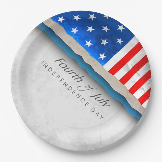 4th of July Flag - Independence Day Paper Plate