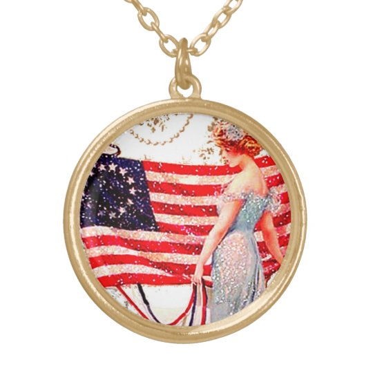 4th of July Flag Lady Vintage Postcard Art  Charm Gold Plated Necklace