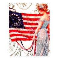 4th of July Flag Patriiotic Vintage Postcard Art
