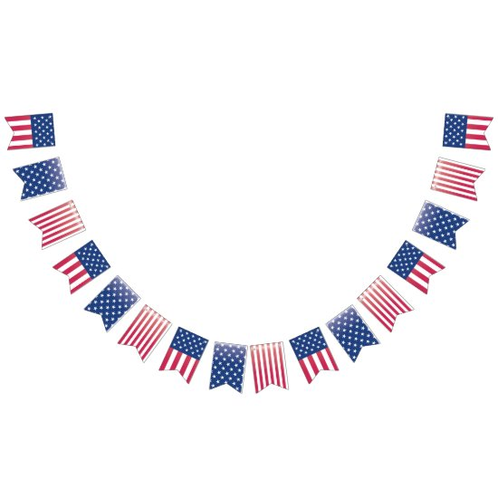 4th of July, Flag, Red, White & Blue Bunting Bunting Flags
