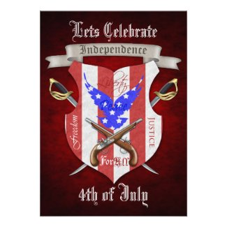 4th of July Freedom Crest Red Party Invitations