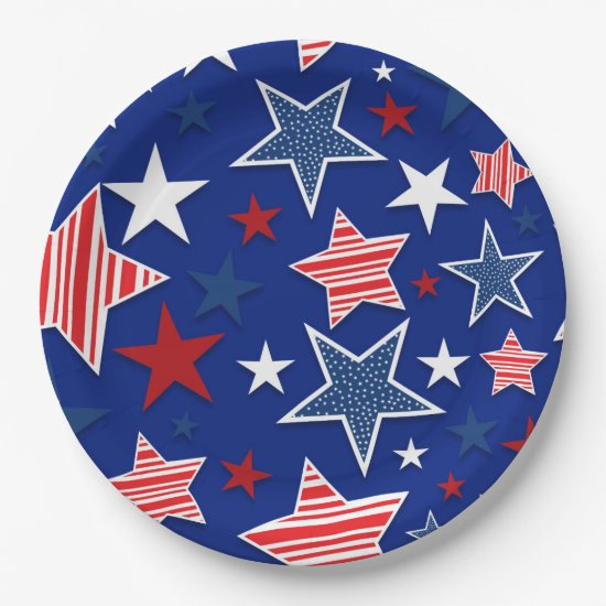 4th of July Fun - Blue Paper Plate