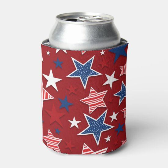 4th of July Fun - Red Can Cooler