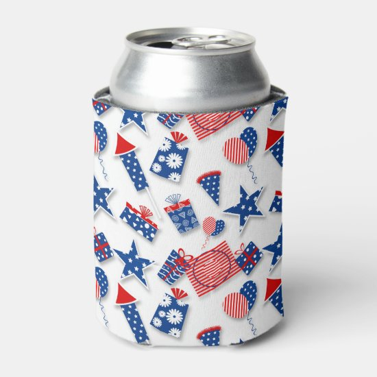 4th of July Fun - White (2) Can Cooler