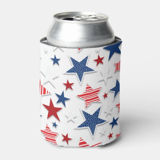 4th of July Fun - White Can Cooler