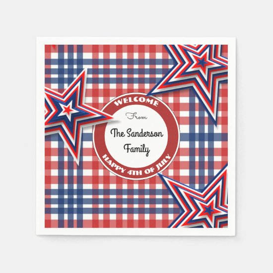 4th Of July Gingham Personalized Paper Napkin