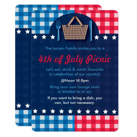4th of July Gingham Picnic Invitations