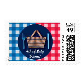 4th of July Gingham Picnic Postage Stamps
