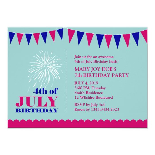 4th of July Girl's Birthday Party Invitation