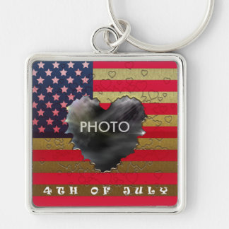 4Th Of July Golden Heart Frame Premium Keychain