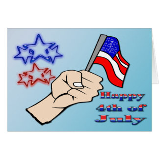 4th of July - Hand Holding Flag Card