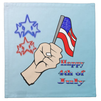 4th of July - Hand Holding Flag Cloth Cocktail Ame