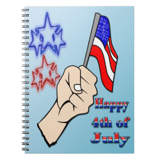 4th of July - Hand Holding Flag Notebook