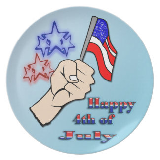 4th of July - Hand Holding Flag Plate