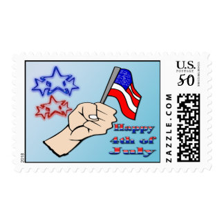 4th of July - Hand Holding Flag Postage