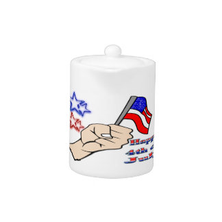 4th of July - Hand Holding Flag Teapot