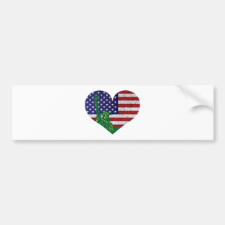 4th of July Heart Flag and Statue of Liberty Car Bumper Sticker
