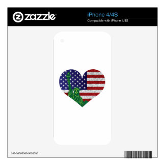 4th of July Heart Flag and Statue of Liberty Decals For The iPhone 4S