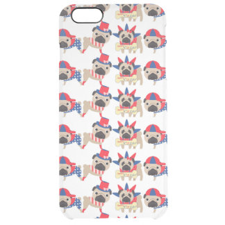 4th of July Independece Day Pugs Clear iPhone 6 Plus Case