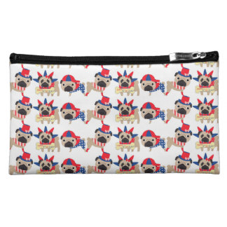 4th of July Independece Day Pugs Cosmetic Bag