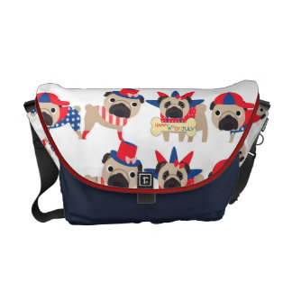 4th of July Independece Day Pugs Courier Bag