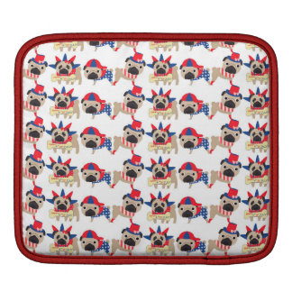 4th of July Independece Day Pugs Sleeve For iPads