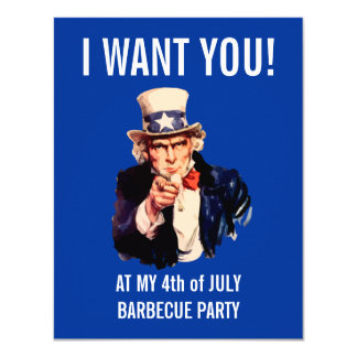 4th of July Independence Day BBQ Party Card