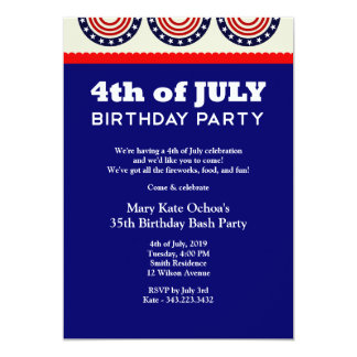 "4th of July Independence Day Birthday Party Invita 5"" X 7"" Invitation Card"