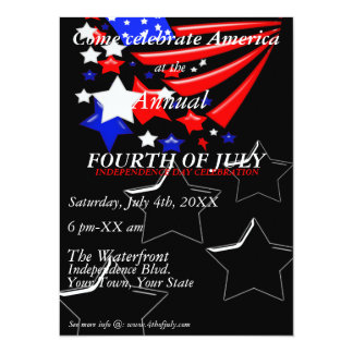 4th of July Independence Day Celebration Invitatio Card