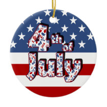4th of July Independence Day Ceramic Ornament