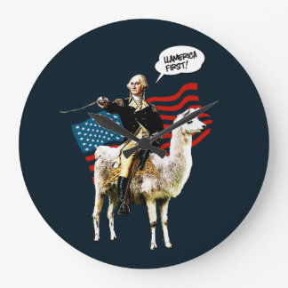 4th of July Independence Day Funny Ll-America Gift Large Clock