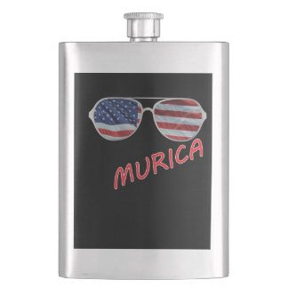 4th of July Independence Day Murica 3 Flask