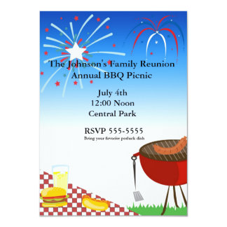 4th of july independence picnic bbq invitation