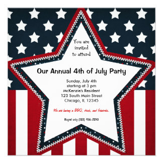 4th of July Personalized Invitations