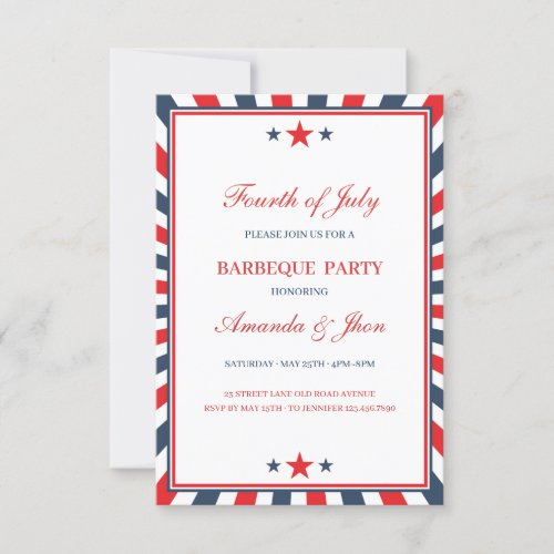 4th of July Invitation Independence Day BBQ Invitation
