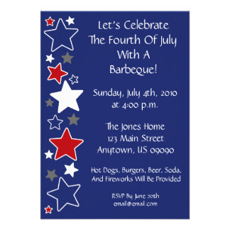 4th Of July Invitation Red White And Blue Stars