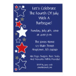 """4th Of July Invitation (Red White And Blue Stars) 5"""" X 7"""" Invitation Card"""