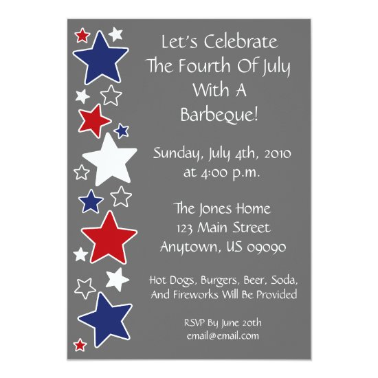 4th Of July Invitation (Red White And Blue Stars)