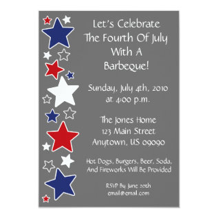4th Of July Invitation (red White And Blue Stars) at Zazzle