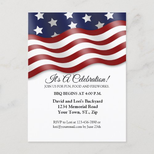 4th of July Invitation Red White Blue Flag Waving