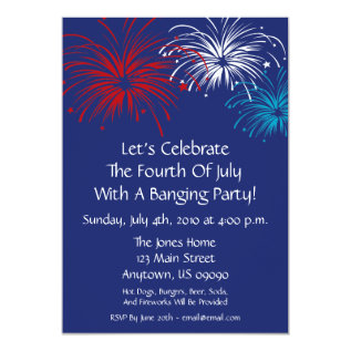 4th Of July Invitation (star Spangled Fireworks) at Zazzle