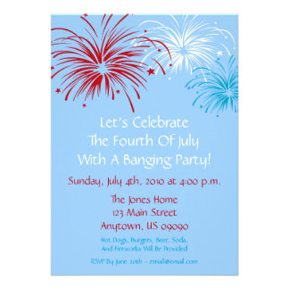 4th Of July Invitation Star Spangled Fireworks