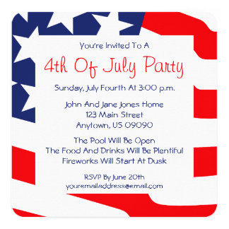4th Of July Invitations (American Flag Background)