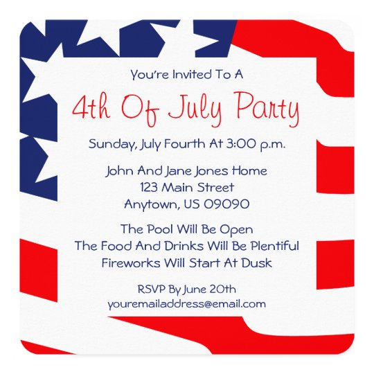 4th of july invitations american flag background zazzle com