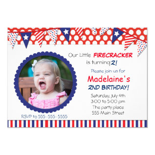 4th Of July Kids Birthday Party Invitation at Zazzle