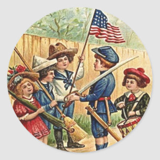 4th of July kids vintage Classic Round Sticker