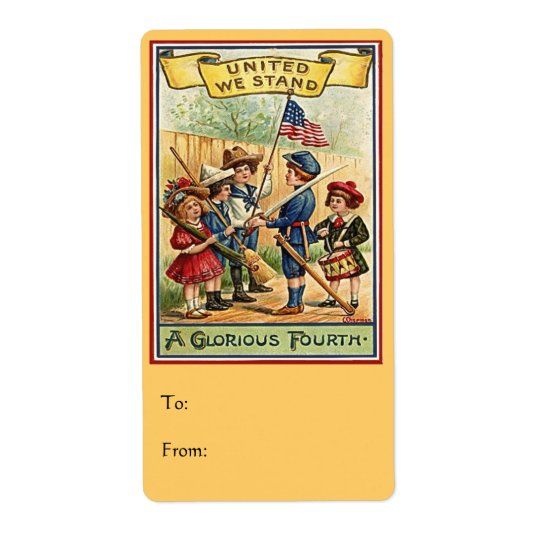 4th of July kids vintage Label