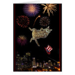 4th of July Kitty and Fireworks Greeting Card