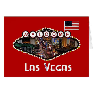 4th of July Las Vegas Strip USA Flag 2007 Party Ca Card