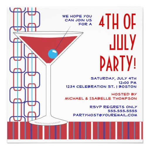 4th of July Martini Cocktail Party Invitation